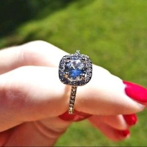 Brilliant Halo Cubic Zirconia Sterling Silver Ring